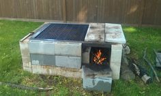 fence made of cinder blocks and posts | Less than 250 to build. And believe me... U learn to cook on this and ...