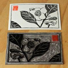 floral linocut hand prints