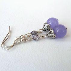 Purple earrings - purple gemstone with crystal £6.00