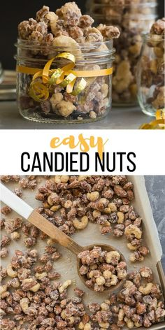 christmas baking These Easy Candied Nuts are just 6 ingredients and less than 30 minutes start to finish! They are sweet and salty with a hint of cinnamon -- perfect for an edible holiday gift or your Christmas baking and treats! Christmas Baking Gifts, Christmas Sweets, Christmas Cooking, Holiday Baking, Holiday Gifts, Homemade Christmas, Köstliche Desserts, Delicious Desserts, Nut Recipes