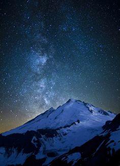 The Milky Way over Mt. Baker, WA.