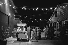 Bianco Latte ice cream carte under festoon lights at Zonzo Estate Wedding in the Yarra Valley. Image by Vanessa Norris Photography.