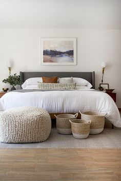 Check out all the pros and cons of using bedroom wall sconces vs. table lamps and figure out what makes sense for your own space! Master Bedroom Makeover, Master Bedroom Design, Modern Bedroom, Table Lamps For Bedroom, Bedroom Decor, Wall Sconces, Bedroom Sconces, Pretty Bedroom, New Beds