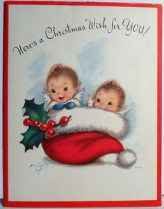 Sweet vintage Christmas card with baby angels in a Santa hat.