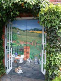 Trompe L'Oeil mural, Tool Shed, painted by Cindy Baer Webster.