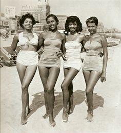beach summer fun African American vintage beauty