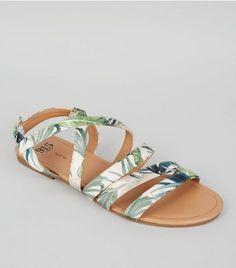 Teens Green Tropical Print Sandals | New Look