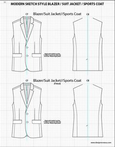 Mens Illustrator Flat Fashion Sketch Templates - Suit Jacket Bodies - 1045+ mix & match Menswear design templates only $39.95! #menswear #mensfashion #flatsketches #fashionflats #fashionsketches #fashiontemplates #fashionCADs