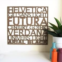 Sans Serif Typography Wood Wall Art $70.00