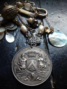 Sea themed mermaid siren neptune assemblage necklace, shell, carved bone fish, sea pearls, baroque pearl, sea fantasy jewelry, underworld, Shell Choker, Sea Colour, Bold Necklace, Sea Pearls, Bone Carving, Fantasy Jewelry, Baroque Pearls, Underworld, Metal Beads