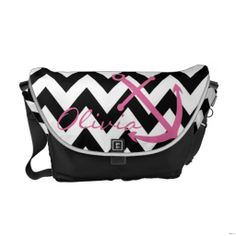 Black and White Chevron Blue Anchor Diaper Bag Courier Bags. It would be cute using pink instead of blue for girls Custom Messenger Bags, Animal Bag, Pack Your Bags, Jansport Backpack, Puppy Backpack, Hiking Backpack, Blue Chevron, Girl Backpacks, Beautiful Bags