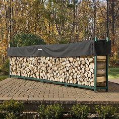 Woodhaven Green Outdoor Firewood Rack - 16' | WoodlandDirect.com: Firewood Racks
