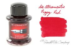 De Atramentis fountain pen inks are exclusively handmade in Germany by Dr. Franz-Josef Jansen, and come in a 35ml glass bottle. This is a bright red color.