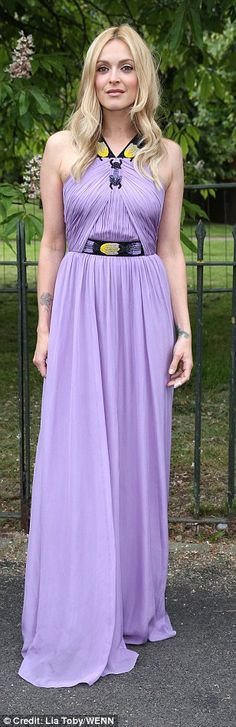 Purple reign: Fearne Cotton wowed in a flowing dress with a subtle side split and quirky halterneck detailing