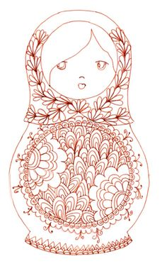 Matryoshka - coloriage This would make for an adorable pattern