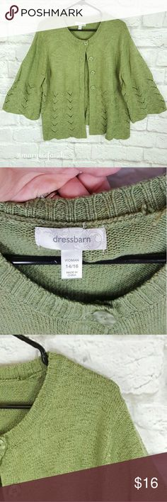 """Dress Barn Green Cardigan size 14/16 Dress Barn Green Cardigan size 14/16 in excellent used condition. Wide sleeves. 87% Acrylic, 7% Polyester, 6% Nylon.   Waist from Seam to Seam: 24"""" Length from Top: 27""""  Please let me know if you have any questions. Happy Poshing! Dress Barn Sweaters Cardigans"""