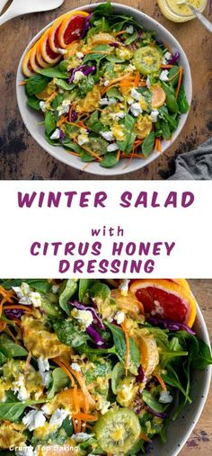 Winter Salad with Citrus Honey Dressing is light and refreshing with an assortment of winter greens, crunchy veggies and seasonal fruit. Best Salad Recipes, Salad Dressing Recipes, Fruit Recipes, Pasta Recipes, Cooking Recipes, Salad Dressings, Healthy Recipes, Easy Salads, Summer Salads
