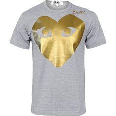 Comme Des Garcons PLAY Mens Large Gold Foil Heart T-Shirt Grey  ... via Polyvore