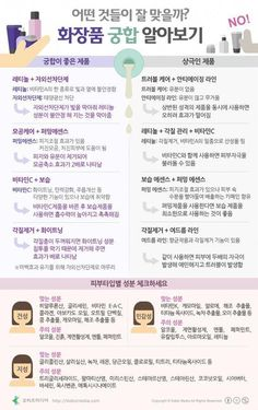 [Korean] 어떤 것들이 잘 맞을까? 화장품 궁합 알아보기 #Infographic #cosmetics #infographicsfashion Beauty Care, Beauty Makeup, Beauty Hacks, Hair Beauty, Healthy Beauty, Health And Beauty, Healthy Tips, Web Design, Natural Cosmetics