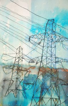 Pylons Watercolour Transmission Tower, Fall Semester, High Tension, Collage Ideas, Hare, Towers, Textile Design, Infinite, Angles