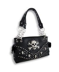 Black Concealed Carry Purse with Rhinestone Skull and Chrome Studs