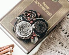 That is not finished product! I can make a similar brooch for you. Please, press Request a custom order key. Mint and rose fabric flower brooch Hendmade jewelry Gift for her  Lace Natural stone Cotton fabric Pearl flowers