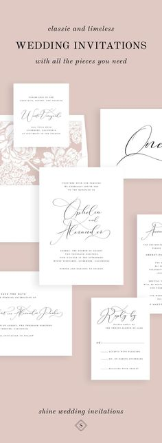 A delicate calligraphy-inspired font adds a touch of drama these elegant wedding invitations. Shown in black ink with a hydrangea envelope liner. Wedding Etiquette, Romantic Wedding Receptions, Intimate Weddings, Shine Wedding Invitations, Wedding Stationery, Wedding Tips, Wedding Prep, Wedding Fun, Wedding Stuff
