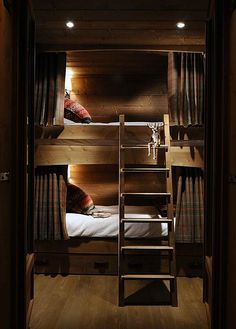 Cabin bunks with privacy curtains | Nicky dobree.        [CasaGiardino][Building to accommodate queen size beds would be terrific for increase sleeping spaces at the cottage.]