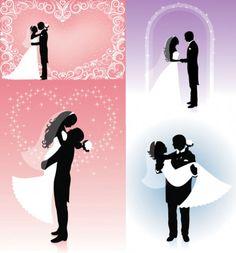 Vector People silhouette wedding