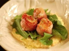 """Proscuitto Wrapped Scallops w/ Arugula and Polenta. If you're looking for an impressive yet easy romantic dinner then here's your answer. This is the perfect Valentine's Day """"stay in and cook something special"""" dish"""