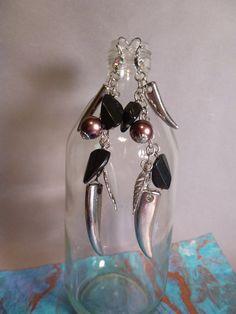 Long Silver Claws  Earrings by TwoBuckEarrings on Etsy
