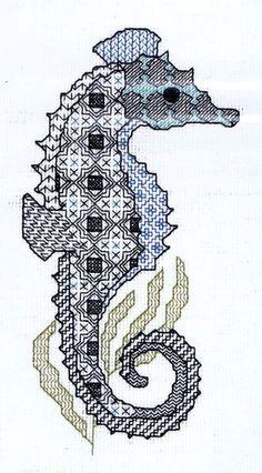 blackwork seahorse: