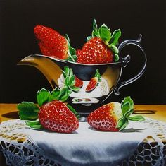 """Daily Paintworks - """"Strawberries with sauceboat"""" - Original Fine Art for Sale - © Jean-Pierre Walter"""