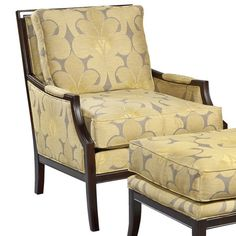 Arm chair with wood frame and floral upholstery.   Product: ChairConstruction Material: Wood, rayon and polyester...