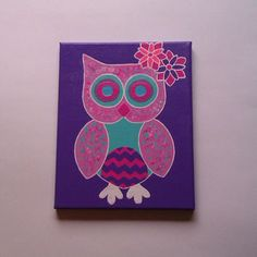 Pink owl acrylic canvas painting for baby girls nursery, tween, or teen room