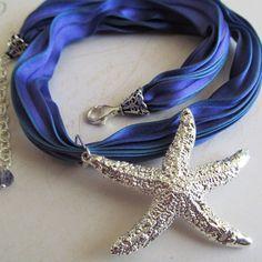 Mermaid's Dream Necklace  Silver Starfish by HartigOriginals, $60.00