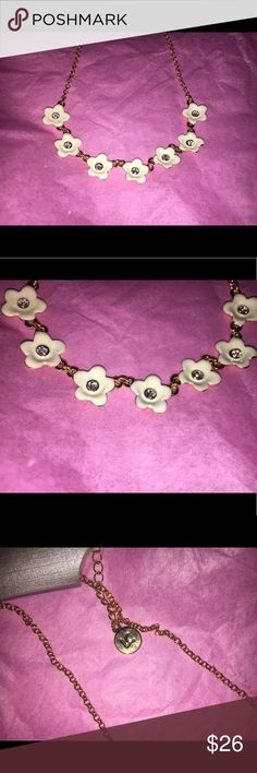 Liz Claiborne Gold Gemstone Flower necklace New Gold Gemstone Flower necklace by Liz Claiborne. Offers are welcome! 🐵🌸 I have the matching bracelet available in my closet as well! Liz Claiborne Jewelry Necklaces