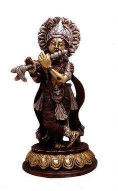 (sku no:krishna brass Indian Religious Gift God Krishna Two Tone Handmade Brass Idol Sculpture Statue Kali Statue, Saraswati Statue, Lord Shiva Statue, Krishna Statue, Fantasy Football Rings, Fantasy Football Champion, Brass Statues, Religious Gifts, Indian Gods