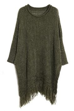 #Chic Fringed Batwing-Sleeves #Knit #Sweater - OASAP.com ★ Wear it with thigh high socks and boots--sporty and totally sexy.