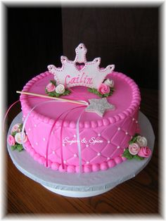 "Cailin's Princess Cake - For a 3 yr. old girl's birthday; 9"" round confetti cake with red raspberry filling; decorated in buttercream with fondant roses and gumpaste tiara and wand. TFL!"