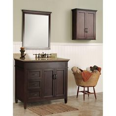 Foremost Ashburn 36 in. W x 21.5 in. D x 34 in. H Vanity Cabinet Only in Mahogany-ASGA3621D - The Home Depot