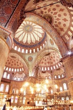 Inside the Blue Mosque, Istanbul.