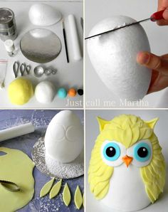 Step-by-step of a gorgeous Owl by Just Call me Martha  Use a styrofoam for a birthday centerpiece instead of fondunt