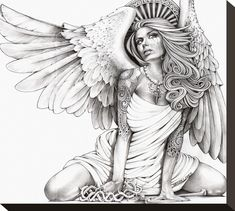 Kneeling woman with angel wings glances skyward with a tear in her eye. Her head is crowned by a crest of heaven. Title: Crying Angel Artist: Mouse Lopez Made-to-order giclee fine art reproductions on Sexy Tattoos, Body Art Tattoos, Skull Tattoos, Rose Tattoos, Sleeve Tattoos, Chicano Art Tattoos, Flower Tattoos, Wing Tattoos, Animal Tattoos