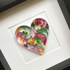 Excited to share this item from my shop: Quilling Love Art - Paper Heart - Wedding anniversary - Handmade original card - Valentines Day gift - Paper wall decor Paper Quilling Cards, Paper Quilling Patterns, Quilled Paper Art, Quilling Paper Craft, Paper Crafts, Quilling Comb, Neli Quilling, Lart Du Papier, 3d Paper Art