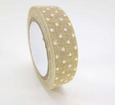 Washi Cotton beige tape white polka dots Free Shipping.