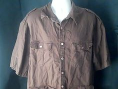 SMOKEY JOES Mens Brown XL Outdoors Travel Shirt Linen Cotton #SMOKEYJOES #ButtonFront