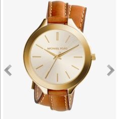 Michael Kors double-wrap leather watch. This is a great watch!  I only wore it a couple of times.  In perfect condition-no scratches on the face and the leather is like new! Michael Kors Accessories Watches