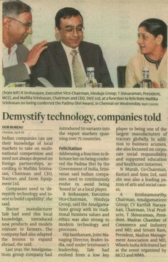 Companies need to 'demystify technology and invest to build capability', Ms. Mallika Srinivasan, Chairman & CEO, TAFE. As published by The Hindu Business Line on May 01, 2014. (Image clip: Courtesy The Hindu Business Line).  tafe.com   tafecafe.org