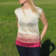 White Pink Striped Summer Top / Hand Knitted Viscose Summer Spring Top